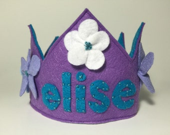 Personalized Girls Felt Birthday Crown