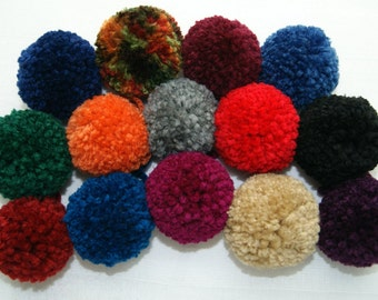 Pom Poms - Made to Order - Five (5) - Your Choice of Color - Yarn Accessory - Beanie Embellishment - Cheerleading - Crochet - Knitting
