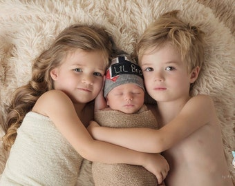 Little brother newborn beanie, Little brother topknot hat, Little brother hat, newborn photo prop, photography prop, Little brother prop