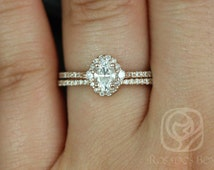Bridgette 6x4mm 14kt Rose Gold Oval FB Moissanite and Diamonds Halo Wedding Set (Other metals and stone options available)