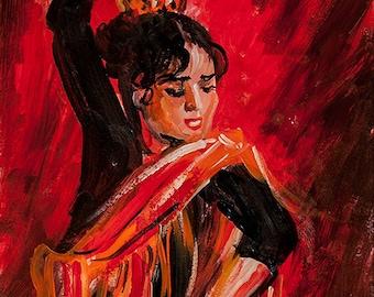 Spanish Flamenco Dancer. Acrylic painting by Ukrainian artist Nataly Basarab, Passionate dance Original Acrylic Hand Painted. Wall Art Decor