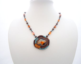 OOAK Bead Embroidery, Handmade necklace by Jenny Sangster, Orange Swarovski Crystal Necklace, Turquoise and Bronze