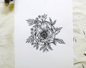 """Magnolia Botanical 8.5"""" x 11"""" Floral Pen and Ink Original Illustration Print"""