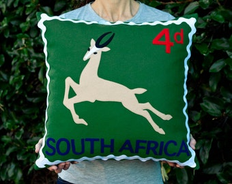 South African springbok stamp cushion cover