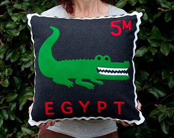 Egyptian crocodile stamp cushion cover