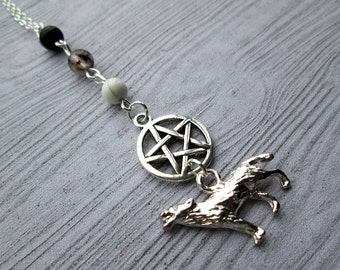Wolf Totem necklace, Pagan necklace, pagan jewelry, Wicca necklace, wiccan jewelry, witch necklace, pentagram necklace, wolf necklace,