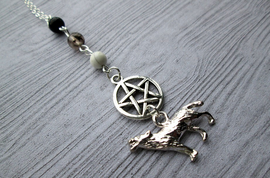 wolf totem necklace pagan necklace pagan jewelry wicca