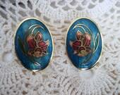 CLEARANCE SALE Vintage 90s Art Nouveau Style Cobalt Peacock Blue Cloissone Post Earrings,  Gift for Women