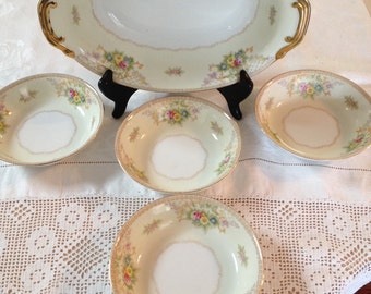 vintage china  cottage style vegetable bowl fruit bowl set shabby farmhouse china pink yellow green beautiful wedding country french floral