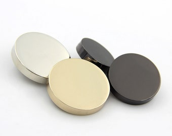 6 pcs 0.45~1.18 inch Mirror Gold/Silver White/Gun Black Flat Plane Metal Shank Buttons for Suits Coats