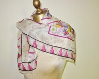 Vintage 1940s  silk scarf , butterflies, hand rolled, art deco border, romantic