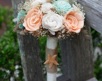 Peach Mint and Ivory Sola Bridesmaids Bouquet. Beach inspired Bouquet,Destination wedding, Starfish, Jute