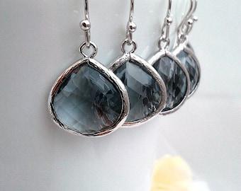 Gray Earrings, Gray drop Earrings, Bridesmaid Gift Wedding Earrings Bridal Jewelry , Danlge Earrings, Grey Earrings, Gift