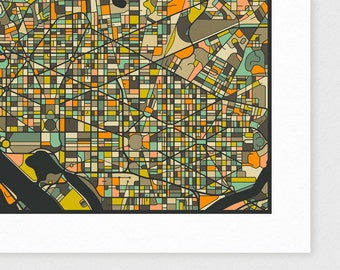 WASHINGTON DC MAP, Giclee Fine Art Print, Modern Wall Art for your home decor by Jazzberry Blue