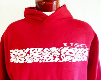 go Trojans vintage 90's USC University of Southern California red white hawaiian floral college graphic hoodie sweatshirt fleece pullover