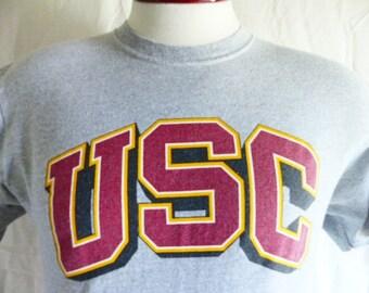 Go Trojans vintage 90's USC University of Southern California heather grey graphic t-shirt red gold yellow black white block logo print medi