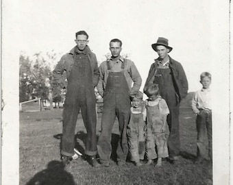 Old Photo Men and Boys wearing Overalls Photographers Shadow 1920s Photograph snapshot vintage