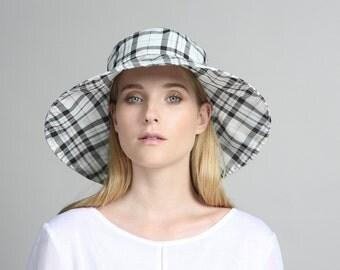 Plaid black & white cotton hat , Womens summer hats , Womens hat , Beach hat , Sun Hat , Hats for women , Custom summer hats