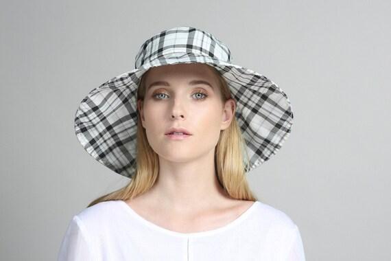 plaid black white cotton hat womens summer hats womens