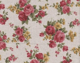 Fat Quarter Vintage Roses Linen Cotton Quilting Fabric Nutex