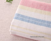 Wide Stripes Cotton Linen Fabric, Off White Cotton With Wide Light Pink Blue Yarn Dye Stripes- 1/2 Yard