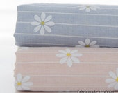 Yarn Dye Stripe Cotton Linen Fabric With Printed White Daisy In Light Pink Blue Cotton- 1/2 yard