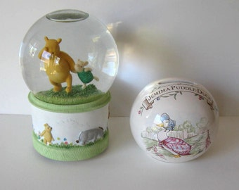 Vintage Lot of 2 classic baby collecitbles, Royal Albert Bank,  Poo Bear music box, Jemima Puddle Duck, nursery decor
