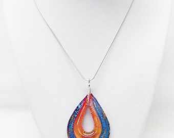 Beautiful Large Red/Blue Teardrop Lamp Work Glass Bead Pendant