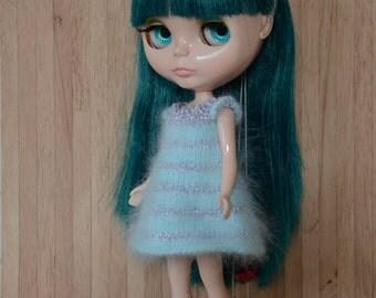 Light turquoise candy cane angora dress.  Neo Blythe Licca Pullip Licca Dal babydoll dress