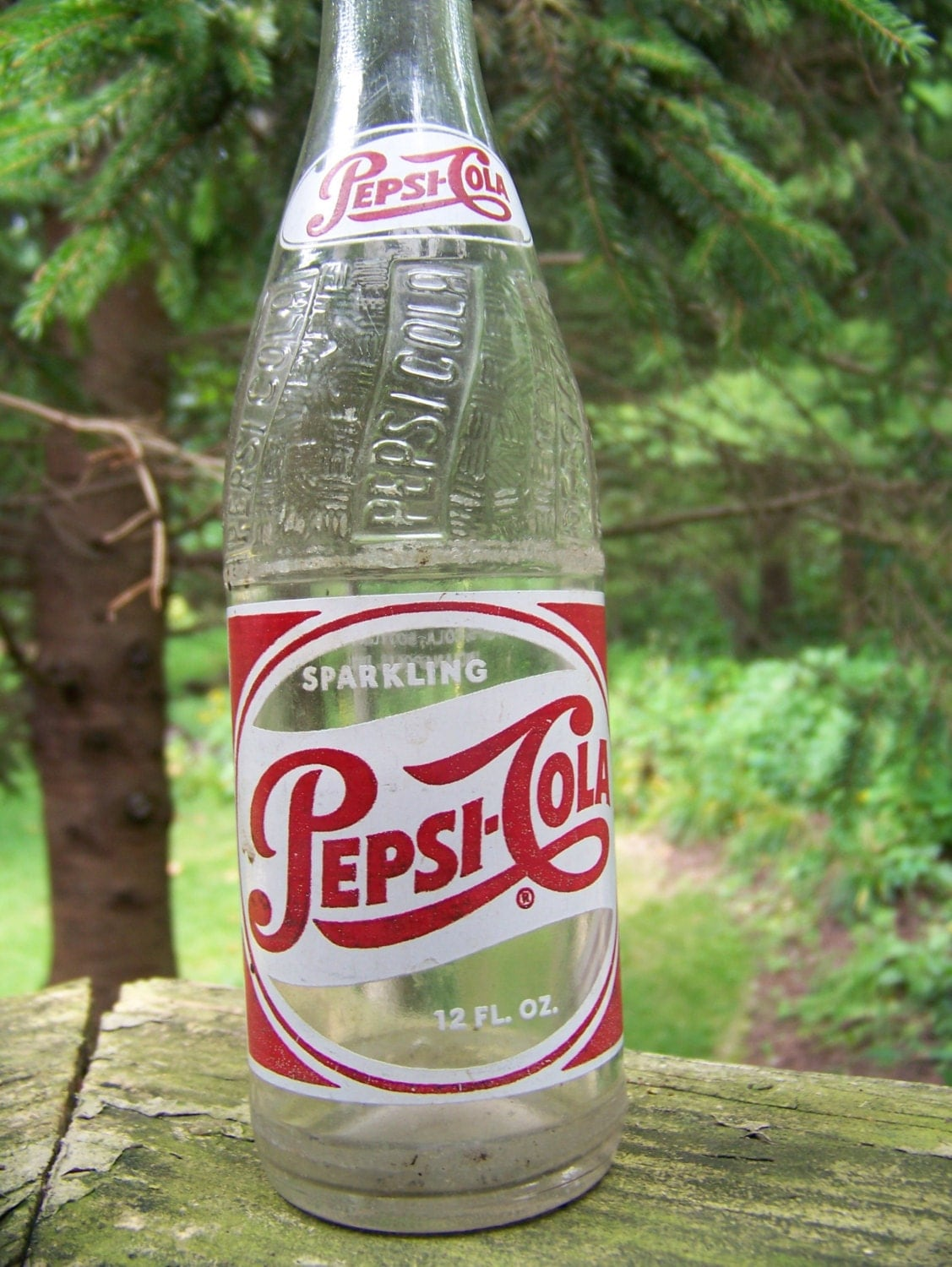 Vintage Pepsi Cola Glass Bottle Red And White Single Red Dot
