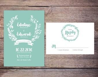 WEDDING INVITATION SUITE DiY Digital Printable File, Floral Wedding Invitation Suite, Summer Flowers, Customize, Modern, Invites