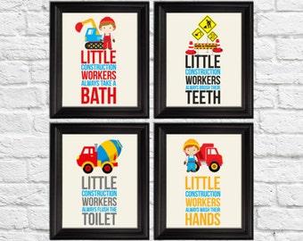 construction workers bathroom rules, bathroom rules boy, kids bathroom decor, construction art, construction nursery, trucks art, A-4023