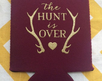 Antler wedding can coolers, The Hunt is Over Fancy Wedding can coolies, hunter theme wedding favor, country wedding favors (100 qty.))