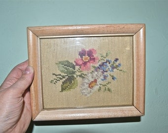 Antique Daisy Bouquet Needlepoint in Blonde Wood Frame  - WA21
