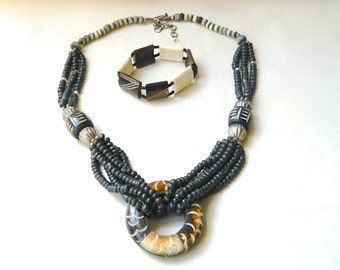2 pc Vintag Pendant Necklace and Bracelet Set African Carved Dyed Bone & Ebony Cuff Great Looking