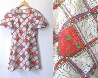 1960's Dress - Vintage 60's Dress - Metal Zipper - Patchwork Effect Lace Mini Dress