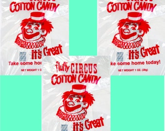 50 Top Quality 12x18 inch Cotton Candy Bags with Ties, Fun Printed Gold Medal Printed Cotton Candy bags, Food safe plastic wholesale bags