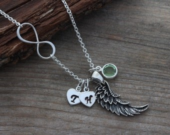 Angel Wing Necklace . Infinity Necklace, Love you forever, Lost Loved One, Silver Wing Necklace . Wing Necklace and Birthstone, By MonyArt