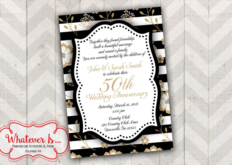 Golden Wedding Anniversary Invitations: Black And Gold 50th Anniversary Invitation