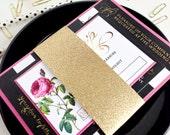 Modern glitter wedding invitation with black and white stripes, gold glitter bellyband and flower florals - Gold foil option - DEPOSIT