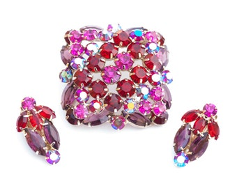 Pink Aurora Borealis Rhinestone Brooch & Earrings Fuchsia Pin