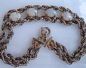 Opal Goldfilled Chains Bracelet, 12k White Gold Filled, Double Chains, Longer Length