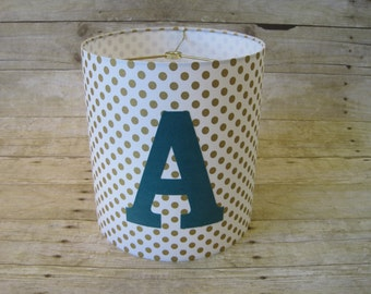 Lamp Shade Personalized Drum Lampshade in Metallic Gold and White Polka Dots and Turquoise Lettering