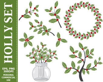 70% OFF SALE Digital Holly Clip Art - Christmas, Holly Berry, Red Berries, Winter, Wreath Clip Art