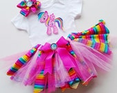 3 Piece Rainbow/Dash Inspired Tutu Set, Rainbow Dash Birthday 3 pc outfit, My Little Pony Tutu set