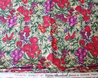Vintage Cotton Spring Fabric 2 Yards Hoffman International, Country Market screen print yardage, berry print sewing material, craft fabric