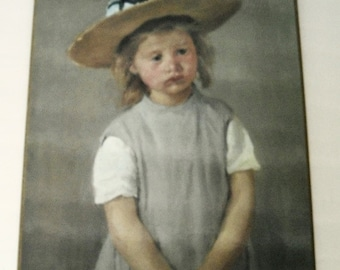 Vintage Wood Plaque Child in a Straw Hat, print impressionism style wall decor, kids room decor, home decor wall hanging