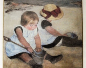 Vintage Wall Decor Plaque, Children Playing on the Beach print, impressionism style, preschool wall decor, kids room home decor