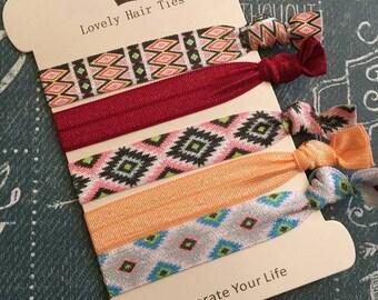 Patterned  Elastic Hair Ties- Ponytail Holders- Hair Tie Bracelets - Knotted Ribbon Hair Bands