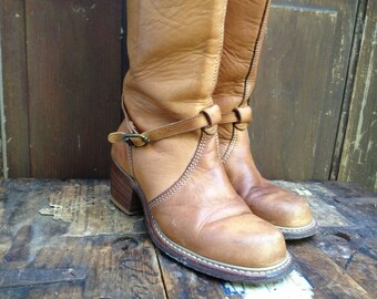 Sienna Brown Leather Riding Boots Tall Belted Campus Size 6,5 7,5 US